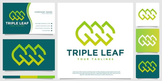Logotipo de três folhas formado de maneira abstrata