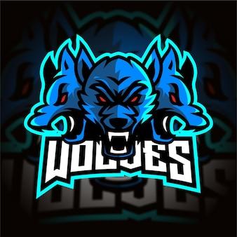 Logotipo de três lobos azuis esport