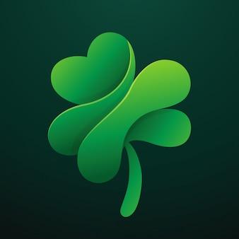 Logotipo de trevo de folha verde