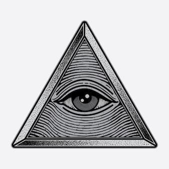 Logotipo de triângulo de olhos de símbolo