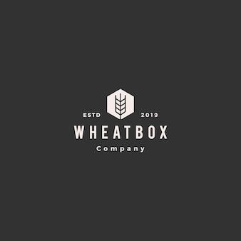 Logotipo de trigo de caixa de agricultor