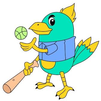 Logotipo de um galo jogando beisebol, desenho de doodle bonito personagem. ilustração vetorial
