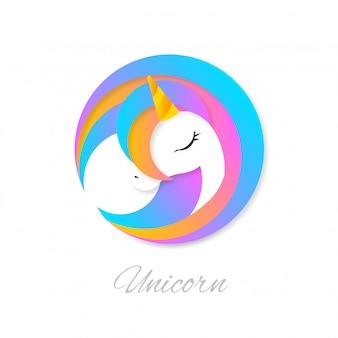 Logotipo de um lindo unicórnio colorido