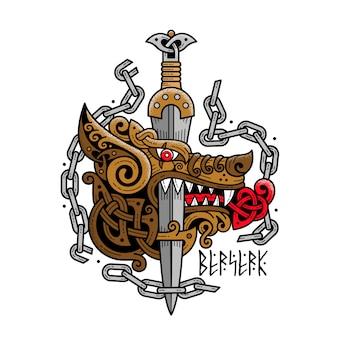 Logotipo de um lobo berserk