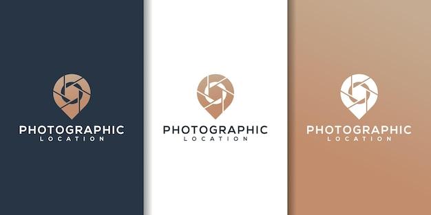 Logotipo de um obturador de câmera em forma de pino de mapa para empresas de fotografia