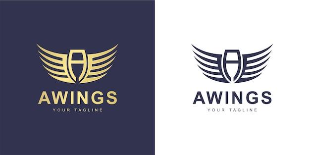 Logotipo de uma carta minimalista com asas e conceito voador