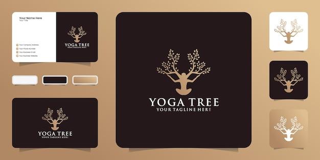 Logotipo de uma mulher em uma pose de ioga, fundido em uma árvore em crescimento e um cartão de visita