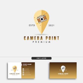 Logotipo de uma ponta de câmera em forma de pino de mapa para empresas de fotografia
