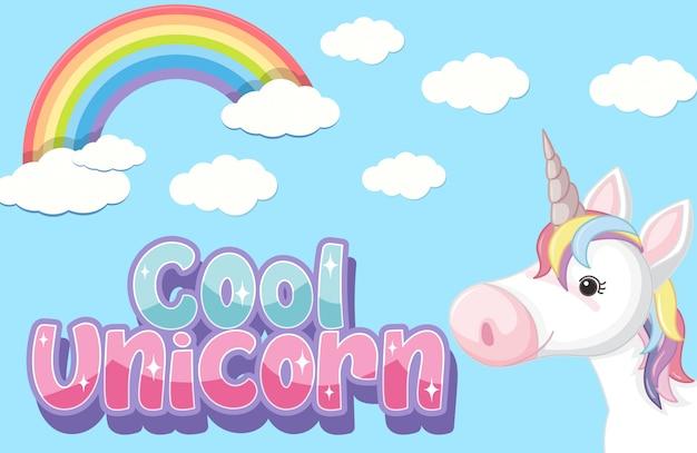 Logotipo de unicórnio legal em cor pastel com um lindo unicórnio e um arco-íris