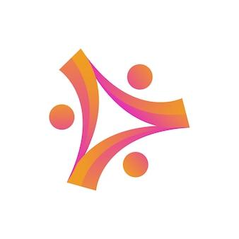 Logotipo de unidade de comunidade de caridade de pessoas humanas