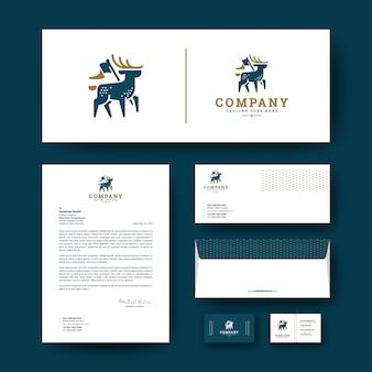Logotipo de veado com modelo de papelaria corporativa