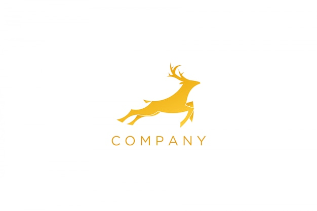 Logotipo de veado correndo amarelo moderno