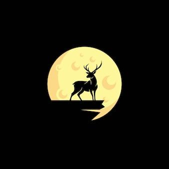 Logotipo de veado e noite