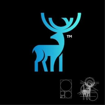 Logotipo de veado em azul degradê