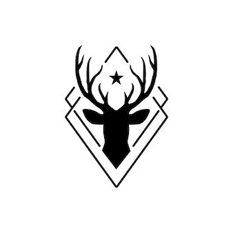 Logotipo de veado estilo hipster - vetor