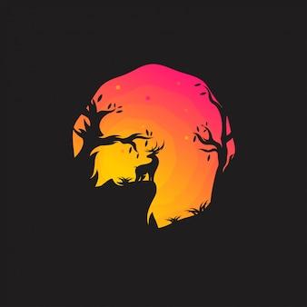 Logotipo de veado noite incrível