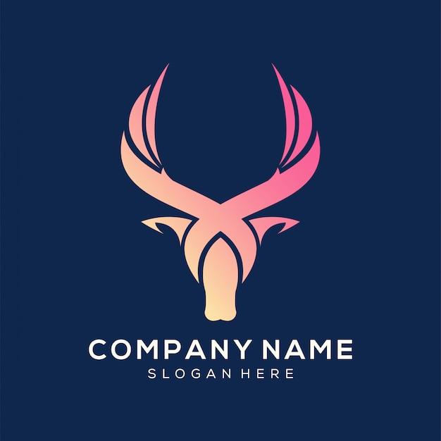 Logotipo de veado projeta vetor premium