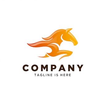Logotipo de velocidade de cavalo de fogo