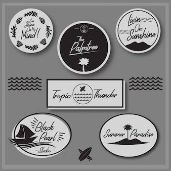 Logotipo de verão e coleção de vetores de vibe