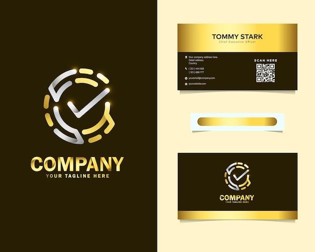 Logotipo de verificação de impressão digital de luxo com modelo de cartão de visita de papelaria