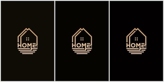 Logotipo de vetor abstrato combinando casa e logotipo de fonte marca nominativa casa empresa imobiliária