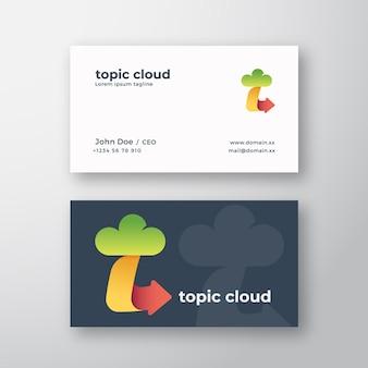 Logotipo de vetor abstrato de nuvem de tópico e modelo de cartão de visita letra t