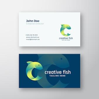 Logotipo de vetor abstrato de peixes criativos e modelo de cartão de visita