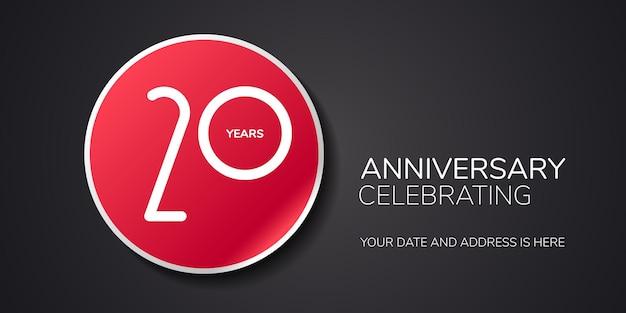 Logotipo de vetor de aniversário de 20 anos, ícone. elemento de design de modelo com número para cartão ou convite do 20º aniversário