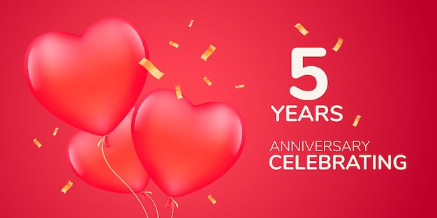Logotipo de vetor de aniversário de 5 anos, ícone. banner de modelo com balões de ar vermelho 3d para cartão de felicitações de casamento do 5º aniversário