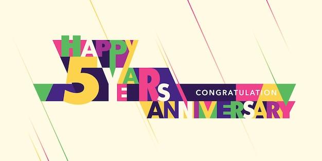 Logotipo de vetor de aniversário de 5 anos, ícone. banner de modelo com composição moderna de letras e números para cartão de felicitações de 5º aniversário