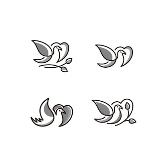 Logotipo de vetor de arte de linha de ícone de aves cor cinza