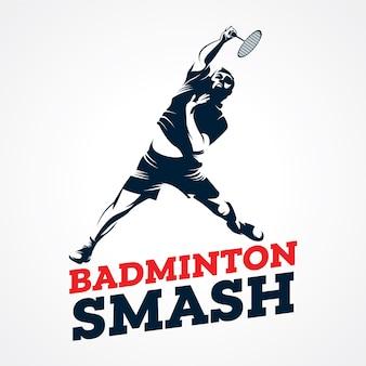 Logotipo de vetor de badminton, vetor de silhueta premium