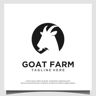 Logotipo de vetor de cabra de cabeça de animal