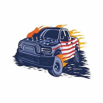 Logotipo de vetor de caminhão monstro, modelo, inspiração de design