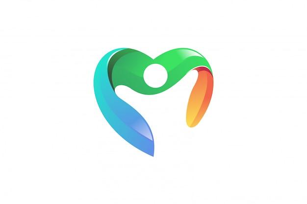 Logotipo de vetor de coração de pessoas