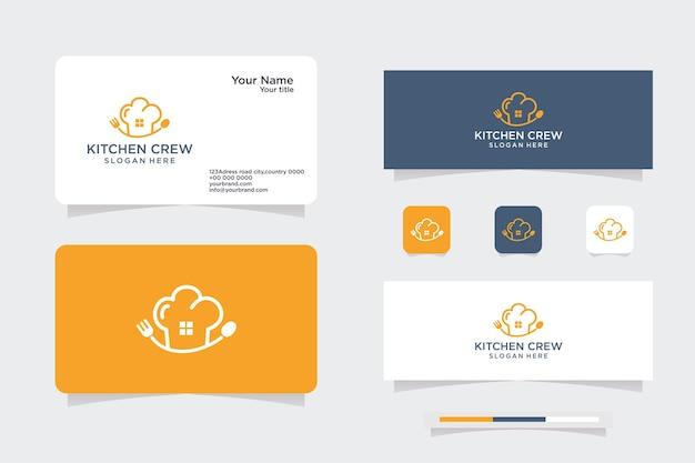 Logotipo de vetor de design de chef doméstico da combinação criativa de design de casa, logotipo e cartão de visita