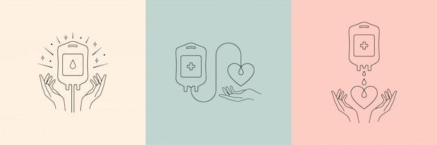 Logotipo de vetor de doação de sangue em estilo linear mínimo