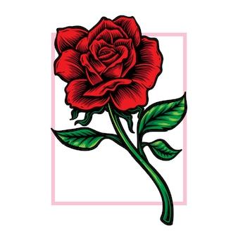Logotipo de vetor de flor haste rosa