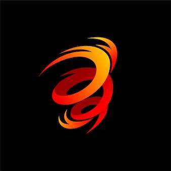 Logotipo de vetor de furacão com elemento fogo