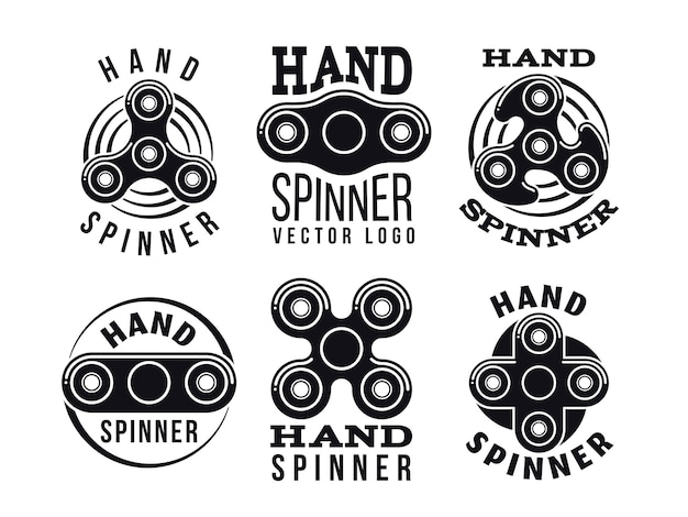 Logotipo de vetor de girador de mão e rótulos