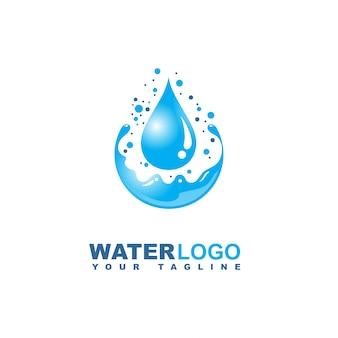 Logotipo de vetor de gota de água com folha e mão