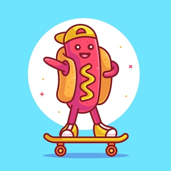 Logotipo de vetor de ícone de vetor de cachorro-quente fofo equitação logotipo de desenho animado de fast food premium