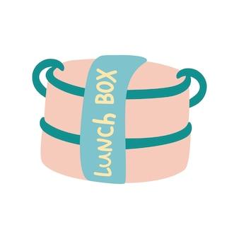 Logotipo de vetor de lancheira. conceito de desperdício zero. saco de pacotes de comida diária saudável para escola ilustração em vetor desenhada mão isolada no fundo branco.