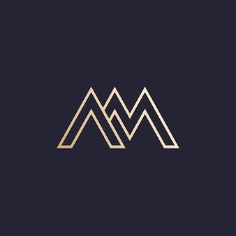 Logotipo de vetor de letras am no escuro