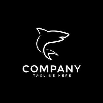 Logotipo de vetor de linha de tubarão