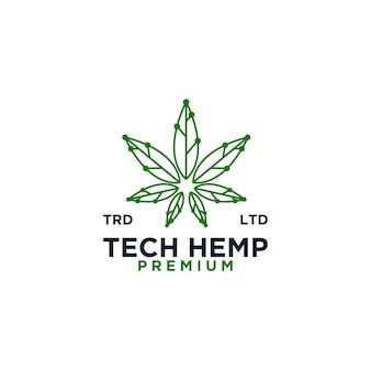 Logotipo de vetor de linha verde de tecnologia de cânhamo minimalismo