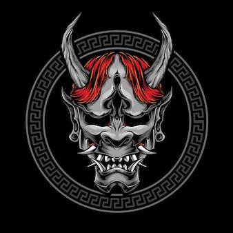 Logotipo de vetor de máscara oni japonesa