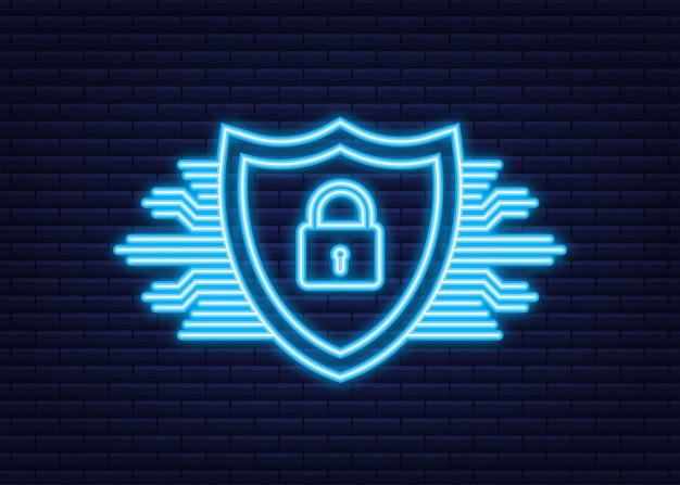 Logotipo de vetor de segurança cibernética com escudo e marca de seleção. conceito de escudo de segurança. segurança da internet. ícone de néon. ilustração vetorial.