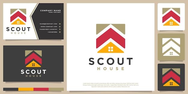 Logotipo de vetor de uma casa de escoteiros minimalista