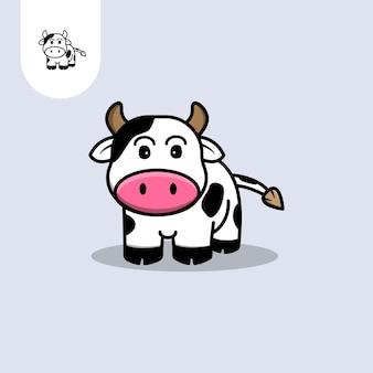 Logotipo de vetor de vaca fofa